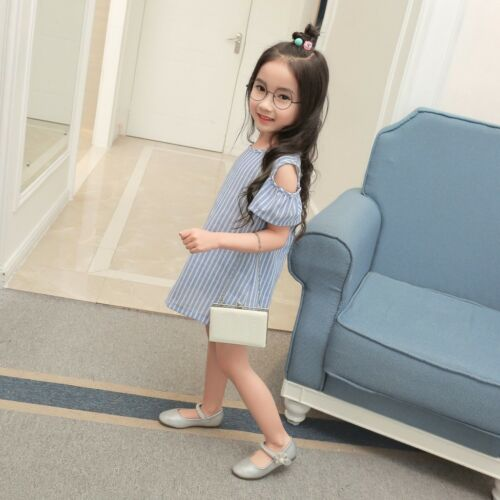 2018 New Girls Off Shoulder Stripe Kids Pageant Cute Children Summer Dress O26