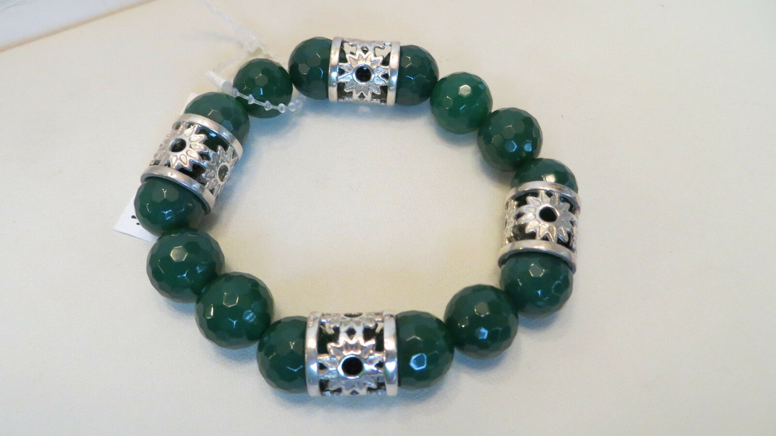 Arte d'silver Sterling GREEN AGATE Stretch Bracelet Made In