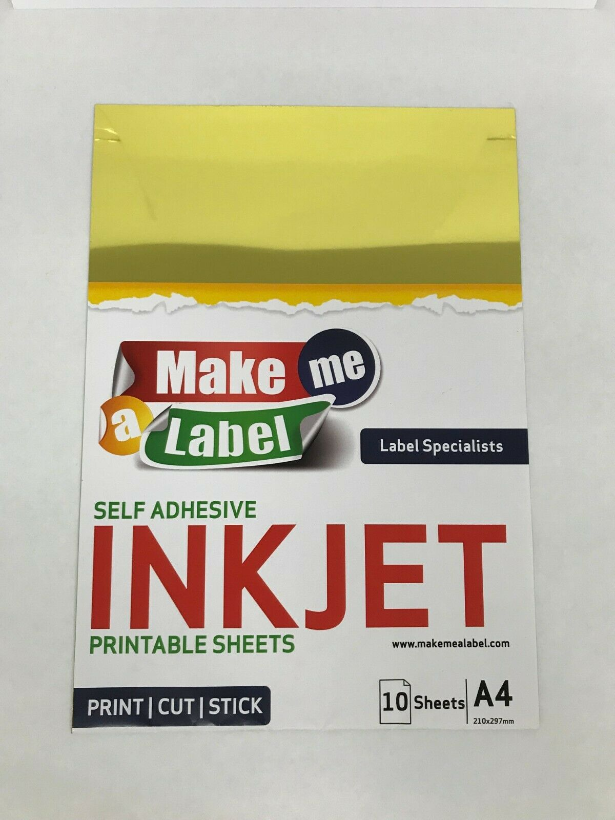 Gold A4 Self Adhesive Inkjet Printable