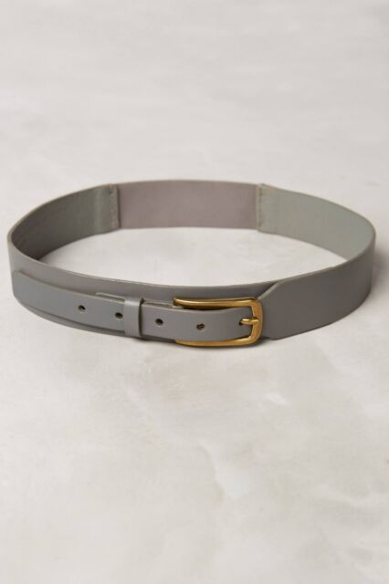 NWT Anthropologie Tapered Gray Leather Stretch Belt Size S Small Orig. $58.00