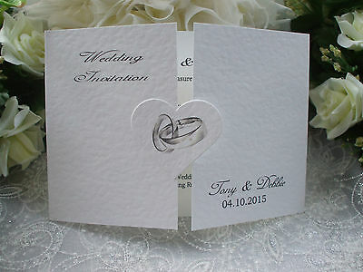 20 x PERSONALISED GATEFOLD HEART & RINGS WEDDING/EVE INVITATIONS/ANNIVERSARY