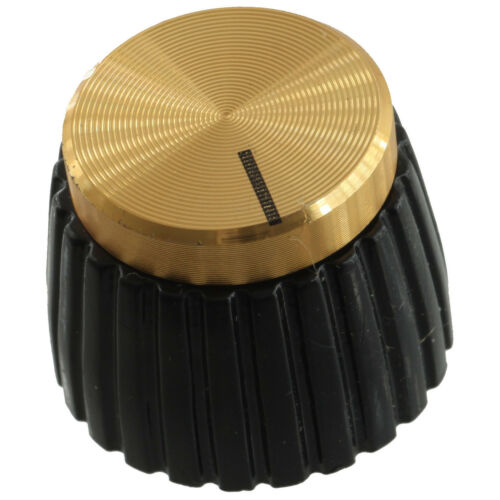 """Black w// Gold Cap Marshall Amplifier Replacement 1//4/"""" Shaft Knob with set screw"""