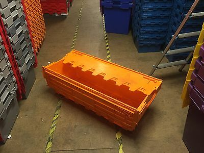10 x Used 1 Metre Plastic Removal & Storage Crate, 130 Ltr Container Box ORANGE