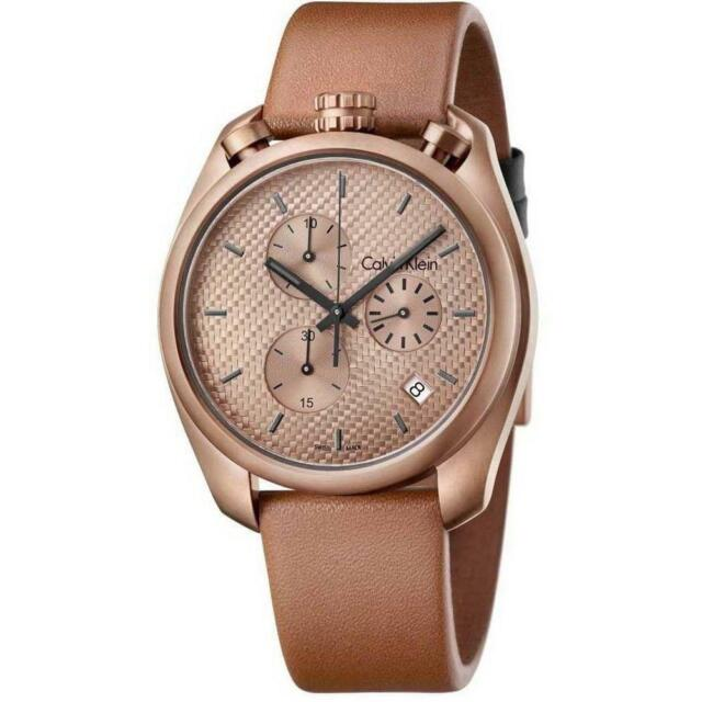 CALVIN KLEIN K6Z17TGK Control Chronograph Rose Dial Brown Leather Men's Watch