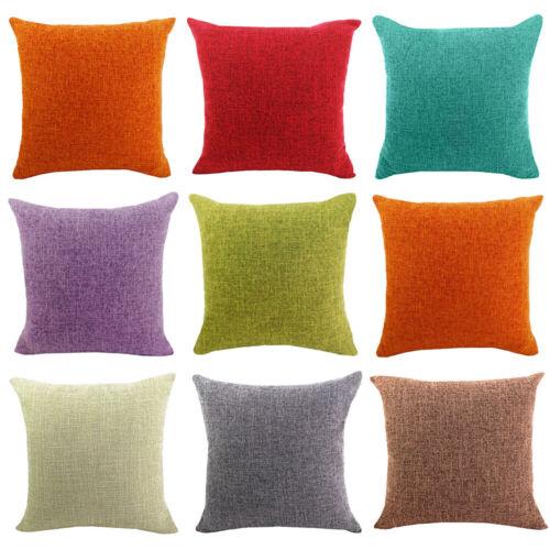 Housse de coussin lin coton uni couleur Pillow Case Home Office Canapé Voiture Décor