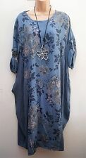 New Italian Lagenlook Blue Floral Stripe Tunic dress fits uk 16 18 20 22