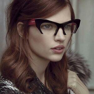 Fashion Cut Off Rasoir Miu Style Cat Eye Glasses Clear Lenses Women ... f9710b8b0c