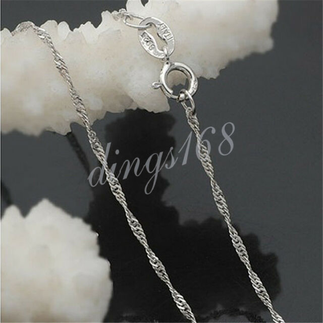 Ladies 925 Sterling Silver Serpentine Twist Rope Necklace Chain 1MM 18 inch H187