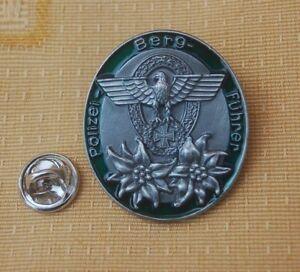 Polizei-Bergfuehrer-Edelweiss-Adler-EK-farbig-Pin-Button-Badge-Anstecker-307