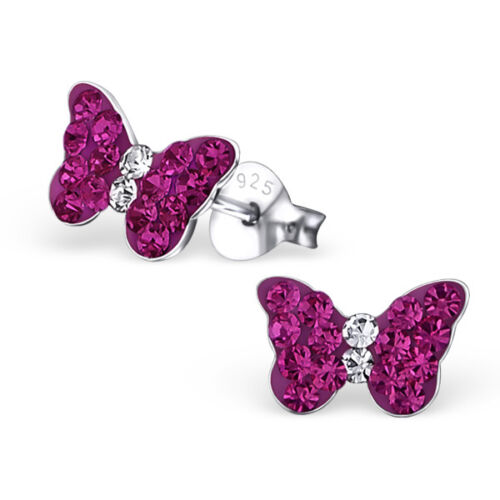 Girls 925 Sterling Silver Butterfly Stud Earrings with Hot Pink Crystals Boxed