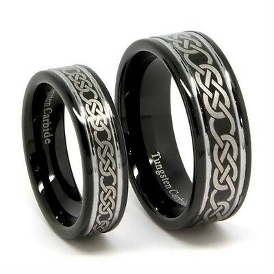 Matching Black Tungsten Wedding Bands, Laser Etched Knot Design, 8MM & 6MM Rings