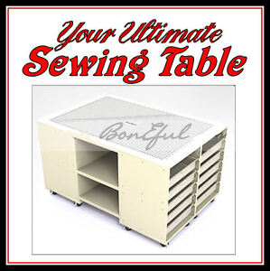 Details About Boneful New Sewing Room Machine Serger Decor Cutting Table Fabric Quilt Storage