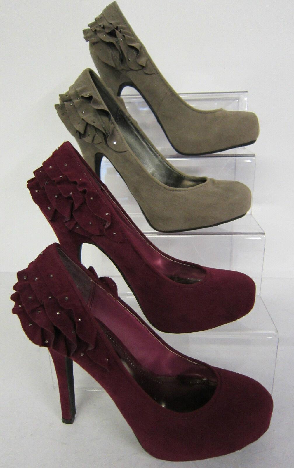 L2957 - Anne Michelle Court Shoe Ruffle Detail - *SALE* Taupe or Purple