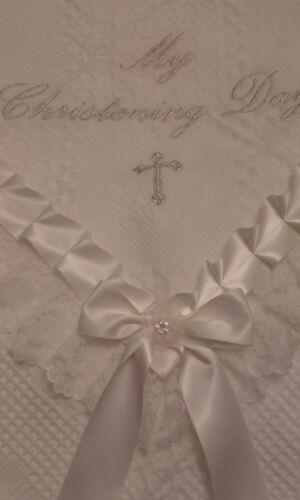 beautiful IVORY bebo baby christening//baptism shawl **NEW**