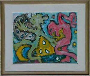 Moderne-Kunst-Cobra-Kuenstler-Martin-Wollmer-1939-Groteske-Malerei-Maskenballxxx