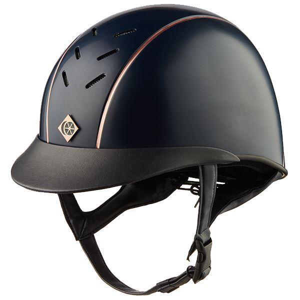Charles Owen Ayrbrush Helmet Navy with Rose Rose Rose Gold Pinstripe 80f18e