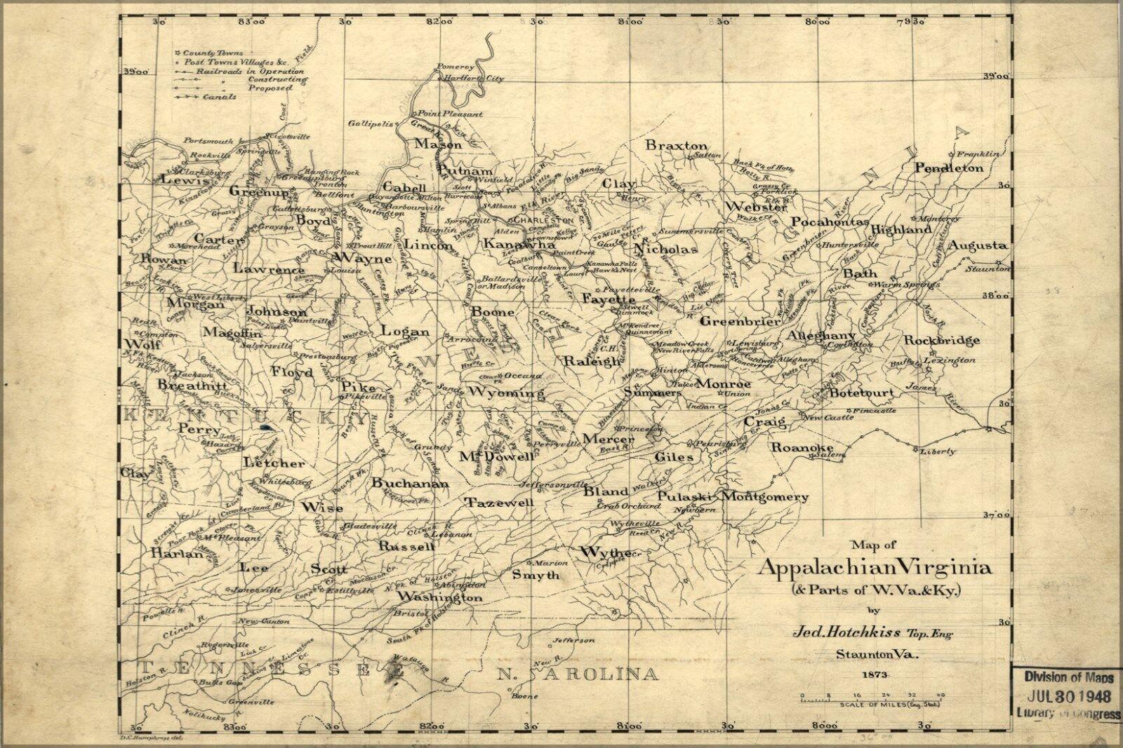 Plakat, Viele Größen; Karte von Appalachen Virginia 1873