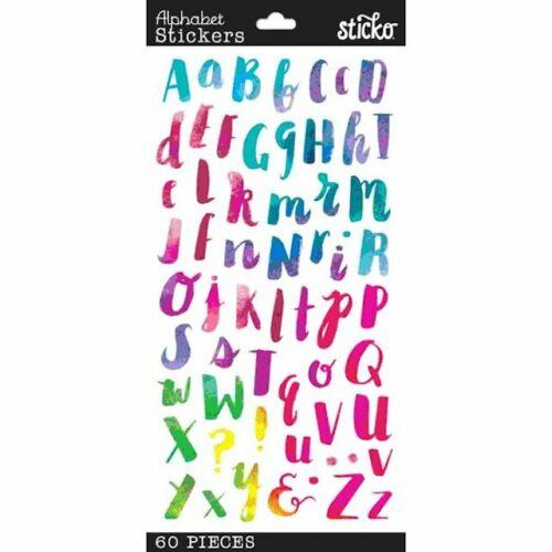 Sticko Watercolor Alphabet ABC Letter Stickers Planner Teacher Supply Scrapbook