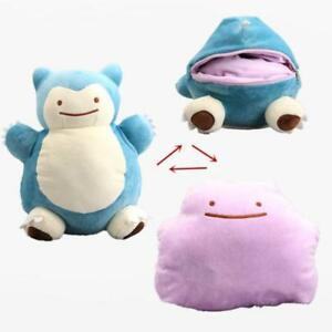 NEW 12'' Pokemon Snorlax Ditto Metamon Inside-Out Cushion Plush Bag Purse Figure