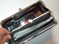 Diamonds & Silver Frame Clutch Wallet,black