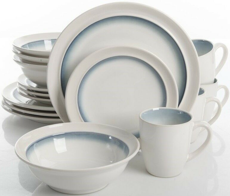Mint Pantry White & Teal 16-Piece Dinnerware Set Service for 4 NEW
