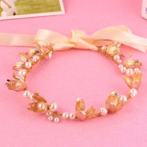 Women Lady wedding gold leaf Hair Tiara Crown Headband Prop Garland with Ribbon
