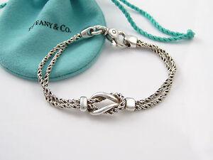 9bf0d664d Tiffany & Co Silver RARE Double Rope Love Knot Bracelet Bangle | eBay