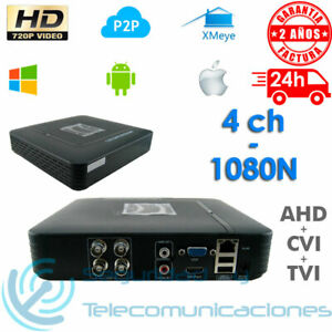 GRABADOR DVR 4 CH CCTV AHD CVI TVI TRIBRIDO 1080N 1080p 720p FULL HD H264 P2P