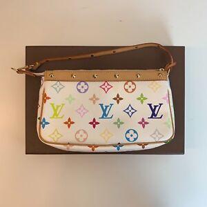 8777a4c3e038 Image is loading Authentic-Louis-Vuitton-Accessories-Pochette-Monogram-White -Multicolor-