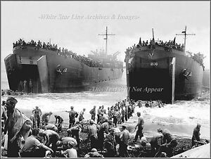 Photo-WWII-Coast-Guard-manned-LSTs-On-Leyte-Island-Beach-1944