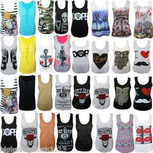 LADIES-I-LOVE-MUSTACHE-COCA-PRINT-CROSS-GRAFFITI-SLEEVELESS-VEST-TOP-SIZE-8-16