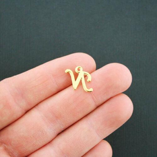 6 Letter N Charms Antique Gold Tone Uppercase Alphabet GC751
