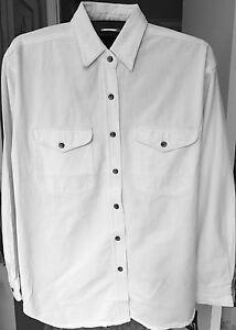 White-Denim-Womens-Shirt-Size-Medium-Blouse-Casual-Long-Sleeve-Cotton-Biker-NIP