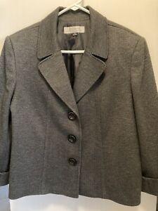 💖TAHARI Ladies Tweed Blazer Notch Collar 3/4 Sleeves Womens Jacket Sz 18 Career