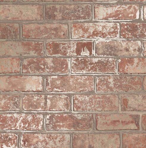 LOVE YOUR HOME METALLIC RED GOLD BRICK WALL LUXURY WALLPAPER FINE DECOR FD41954