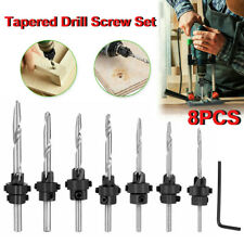 8pcs Tapered Drill Amp Countersink Screw Set Wood Pilot Hole Woodworking Tools