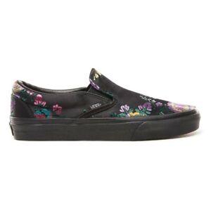 New-Vans-Classic-Slip-On-Festival-Satin-Black-Black-Sneakers-Skate-Shoes