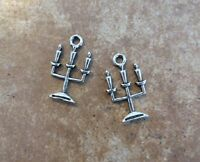6 Candelabra Haunted House Mansion Charms Bronze Or Silver Tone Halloween Spooky