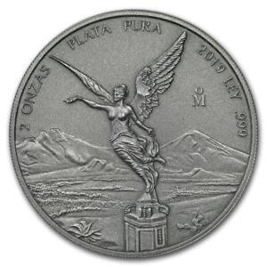 ANTIQUE-LIBERTAD-MEXICO-2019-2-oz-Silver-Coin-in-Capsule