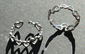 925-Silver-Toe-Ring-or-Finger-Ring-Adjustable-Beautiful-New-Heart-Design