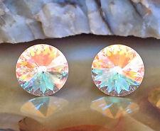 Aurora Borealis Stud Earrings, 14mm Round Rivoli Swarovski Crystal Rhinestones