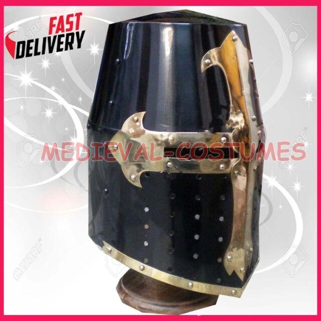 Crusader Templar Knight Armour Helmet With Black & Brass Design Helm p50