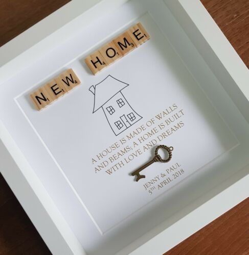 New Home Scrabble Personalised Custom Photo Frame 3D