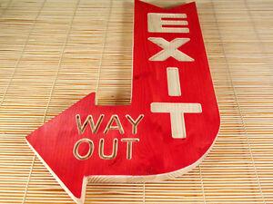 EXIT-way-out-grosses-Dekoschild-Schild-Hinweis-USA-slight-used-Vintage-Style