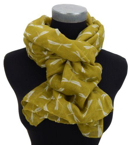 Damenschal gelb curry creme Libellen by Ella Jonte new in scarf Schal