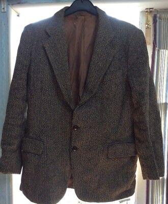 """100% Vero Da Uomo Vintage Herringbone Harris Tweed Giacca, Circa 42"""" Sul Petto-mostra Il Titolo Originale Attraente E Durevole"""