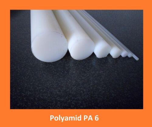 Poliammide pa6 TONDO Ø 8mm x 500mm lunghezza colore naturale circa Materiale Plastica Bacchetta