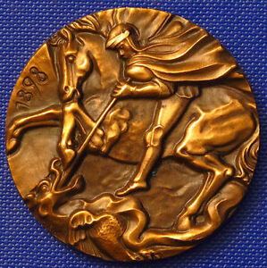 1898-HL-GEORG-amp-PFERD-TOTET-DRACHE-MILANO-BRONZE-MEDAILLE-40mm-SIGN-MABA