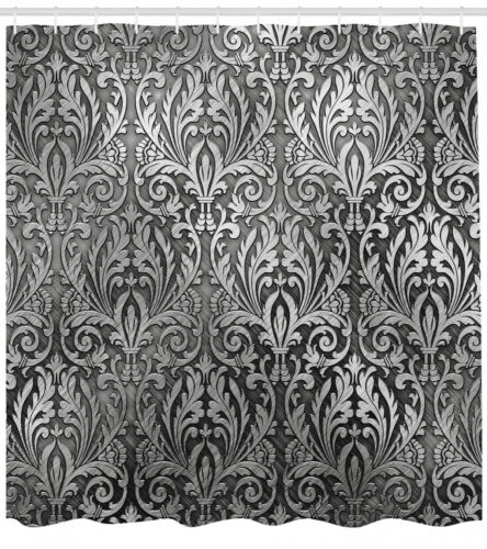 Silver Shower Curtain Classic Floral Ornament Print for Bathroom