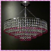 Chrome Pink Lead Crystal Glass Chandelier Ceiling Light Lamp Lighting Itpl40pink